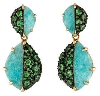 Phillips House 14K Amazonite & Tsavorite Contrast Drop Earrings