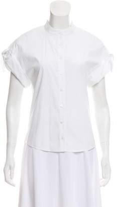 Veronica Beard Collarless Short Sleeve Top
