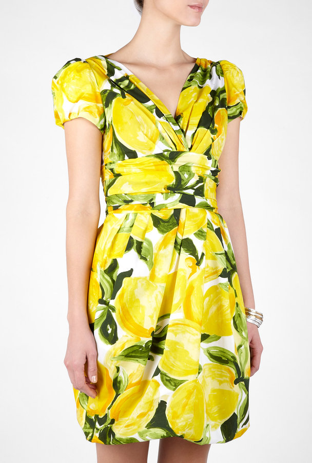 Moschino Cheap & Chic Lemon Print Poplin Dress