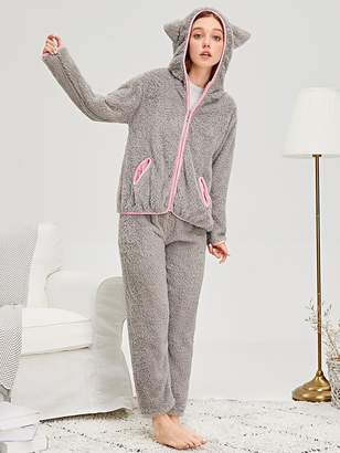 Shein Cat Ear Zip-up Plush Pajama Set