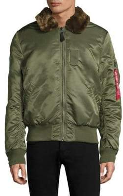 Alpha Industries Faux-Fur Trim Bomber Jacket