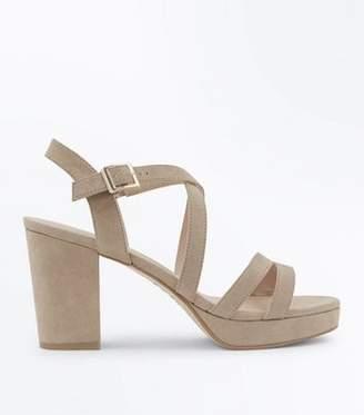 New Look Brown Suedette Strappy Block Heel Sandals