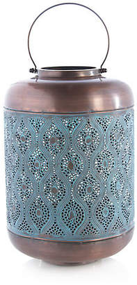"One Kings Lane 19"" Elizabeth Large Outdoor Lantern - Denim/Copper"