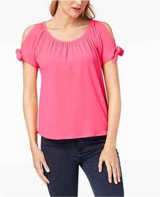 INC International Concepts I.n.c. Petite Cold-Shoulder Bows Top, Created for Macy's