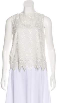 Alice + Olivia Embroidered Silk Sleeveless Top