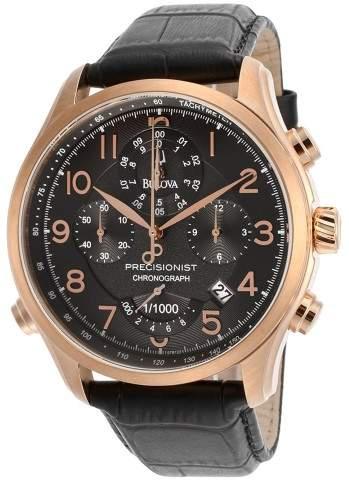 Bulova Men's Wilton/Precisionist Chronograph Black Dial Black Genuine Leather
