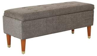Inspired by Bassett Douglas Storage Bench in Charcoal fabric with Amber finished legs with Gold Foot Caps