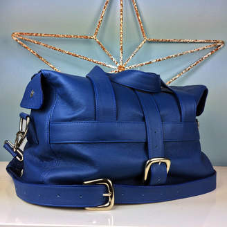 9141650d5f65 Freeload Leather Accessories Handcrafted Marine Blue Leather Holdall