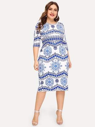Shein Plus Blue And White Porcelain Print Dress