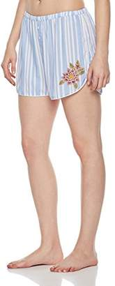 Rebel Canyon Young Womens Stripe Boyfriend Boxer with Front Leg Emboidery