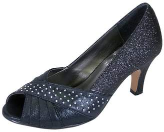2cc6bc0a92f2 Floral Grace Women Extra Wide Width Metallic Pleated Crystals Peep Toe Dress  Pump 10