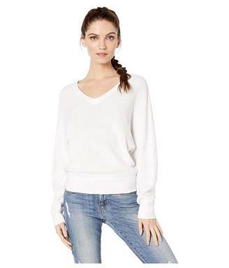 Michael Stars Lanie Cotton Knit Long Sleeve Dolman V-Neck Pullover Sweater