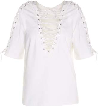 McQ Lace-up Cotton-jersey T-shirt