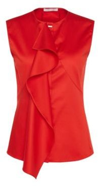 Hugo Boss Basenia Cotton Ruffle Blouse 4 Red $215 thestylecure.com