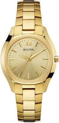 Bulova Women's Gold-Tone Stainless Steel Bracelet Watch 33mm 97L150 $299 thestylecure.com