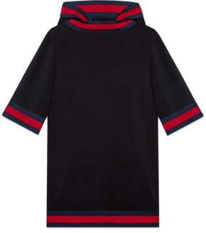 Gucci Stretch viscose hooded dress with Web