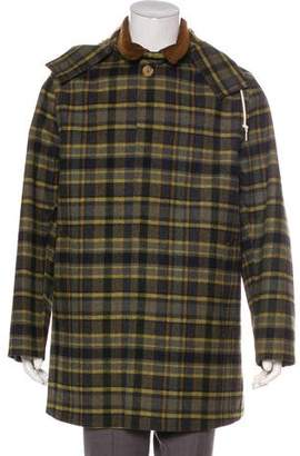 MACKINTOSH Hooded Plaid Wool Raincoat
