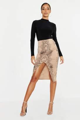 boohoo Snake Print Twist Front Midi Skirt