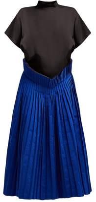 Toga Pleated Twill And Taffeta Dress - Womens - Black