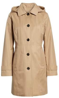 MICHAEL Michael Kors Missy Short Single-Breasted Skirted Raincoat