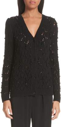 Co Beaded Wool & Cashmere Cardigan