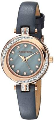 Swarovski Armitron Women's 75/5542GMRGGY Crystal Accented Rose Gold-Tone and Grey Leather Strap Watch