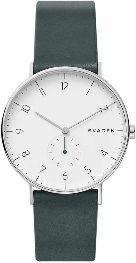 Skagen Men's Aaren Green Leather Strap Watch 40mm