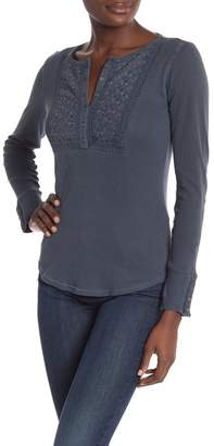 Lucky Brand Embroidered Novelty Bib Long Sleeve Thermal Top