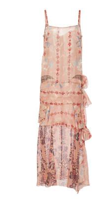 Anna Sui Feathers & Folage Metallic Jacquard Dress