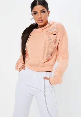 Missguided Coral Distressed Chainmail Hoody