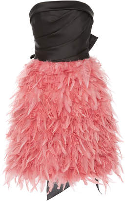 Marchesa Strapless Silk Satin Cocktail Dress With Ostrich And Duck Feather Skirt
