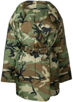 Norma Kamali oversized camouflage print coat