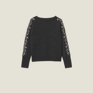 Sandro Sweater With Rhinestones And Boat Neck