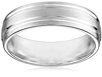 10k White Gold 6mm Comfort Fit Wedding Band with Satin Finish and Two High Polished Center Cuts