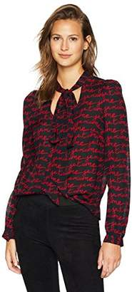 Milly Women's Je T'Aime Printed Slim Tie Neck Long Sleeve Blouse