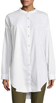 Eileen Fisher Petite Mandarin-Collar Stretch-Lawn Button-Front Shirt