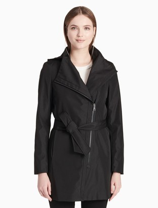 Calvin Klein asymmetric zip belted hooded jacket