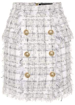 Balmain Exclusive to Mytheresa Metallic checked tweed miniskirt