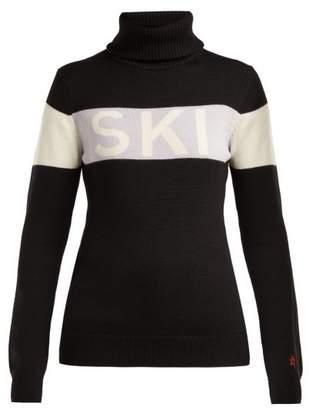 Perfect Moment - Ski Roll Neck Wool Sweater - Womens - Black Grey