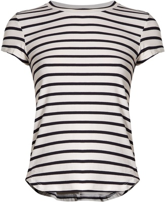 FRAME Round-neck striped jersey T-shirt $121 thestylecure.com