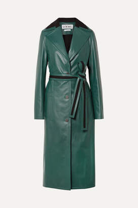 Loewe Oversized Paneled Leather Coat - Green