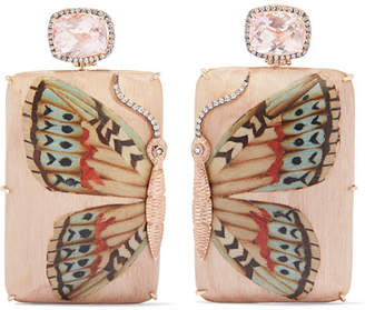 Silvia Furmanovich Marquetry 18-karat Gold, Wood, Diamond And Morganite Earrings - Rose gold