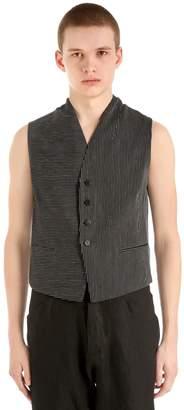 Isabel Benenato Pinstriped Cotton Linen Vest
