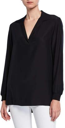 Lafayette 148 New York Plus Size Boyd V-Neck Long Sleeve Matte Silk Blouse