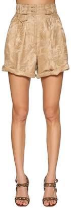 Etro High Waist Jacquard Linen & Silk Shorts