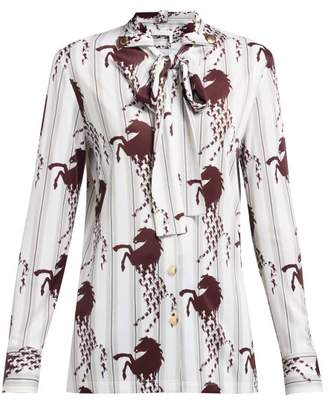 Chloé Little Horses Print Pussybow Blouse - Womens - Brown Multi