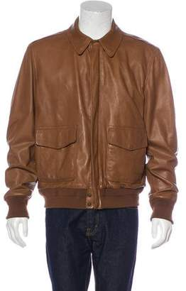 Ralph Lauren Purple Label Lambskin Collared Bomber Jacket