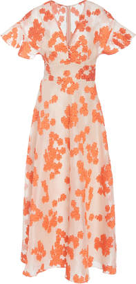 Lela Rose Flutter Sleeve V-Neck Dress
