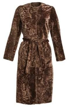 Max Mara Shearling Lamb Fur Long Coat