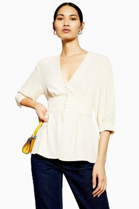 Topshop Ivory Short Sleeve Button Blouse